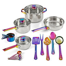 COOKWARE SET (10 - 20 Piece) with Kitchen Utensil Iridescent Stainless Steel