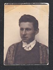 Old Vintage Antique Photo Booth Photograph Young Man in Vest and Tie