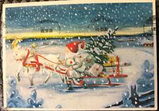 Christmas Postcard ~ Santa & Sleigh God Jul Posted Via Sweden 1991