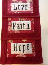 Cranberry Towels 3 Piece Set Hand Towels HOPE FAITH LOVE