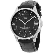 Tissot Chimen Des Tourelles Black Dial Leather Strap Men's Watch T0994071605800