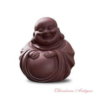 Purple Clay Maitreya Buddha Statue Clay Figurine Tea Pet Home Decorations #1488