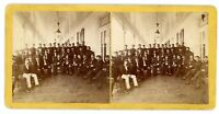 Vintage Stereo Card-CIVIL WAR VETERANS GROUP IMAGE- c1870s Stereoview Soldiers