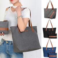 Women Canvas Outdoor Handbag Casual Beach Diaper Shopper Shoulder Bag w/Purse