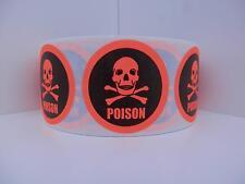 Poison Skull/Cross Bones  red fluorescent Warning Stickers Labels 250/rl