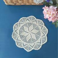 4Pcs/Lot Vintage Handmade Crochet Lace Round Doilies Flower Doily Ecru 12inch