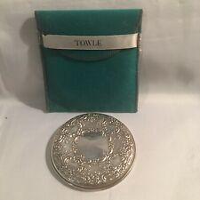 Towle Sterling Silver Hand Held Round Pocket Cosmetic Mirror