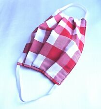 ADULT UNISEX RED CHECK HANDMADE WASHABLE DOUBLE SIDED FACE MASK COVERING