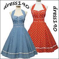 dress190 BLUE or RED HALTER 50's POLKA DOT ROCKABILLY VINTAGE PROM PARTY DRESS