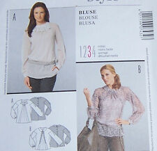new OOP BLOUSE PATTERN misses sz 10-22 fancy flared front detail-button back