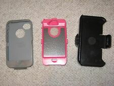 OtterBox Defender 6930 for iPhone 4 Pink, Grey Cover Rotating Belt Clip Used