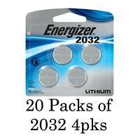 20 Energizer CR2032 4 Pks Bulk (80 batteries total) New