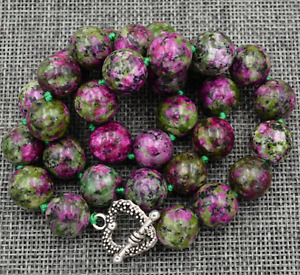 """New 10mm green ruby gemstone Necklace 18"""" Tibetan silver love clasps"""