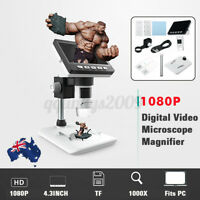 1000X Magnifier 1080P LCD Electronic Digital Video Microscope Monitor LED 4.3''
