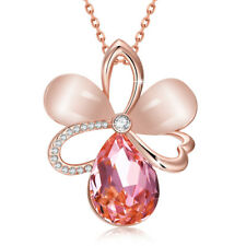 18K Rose Gold Filled Pink Zirconia Crystal Opal Flower Pendant Necklace Jewelry