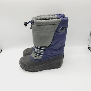 Sorel Boys Blue Gray Black Insulated Mid Calf Drawstring Winter Snow Boots 1.0