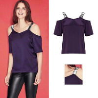 AVON Ladies Womens Sequin Satin Silk Cold Shoulder Vest Tops Size 10 12 14 16