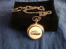 VOLKSWAGON BEETLE CONVERTIBLE NEW SHAPE CHROME POCKET WATCH WITH CHAIN (NEW) (3)