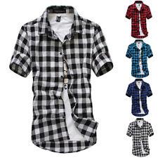 Herrenmode T-Shirt Freizeithemden Sommer Casual Shirt Karo & Plaid Kurzarm Tops