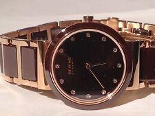 BERING Ladies 29mm Slim Ceramic Watch - Brown With Rose Gold Steel