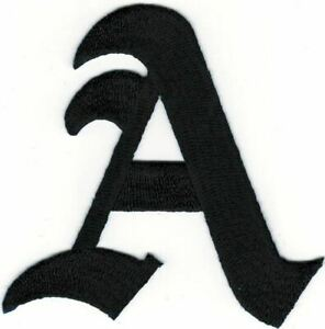 """3"""" Fancy Black Old English Alphabet Letter A Embroidered Patch"""