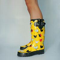 Womens Rubber Rain Boots Waterproof Gumboots Wellies Wellington Boots Yellow