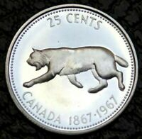 🍁 1967 Brilliant Bobcat Lynx 25 Cent Quarter Canadian Silver Coin, High Grade A