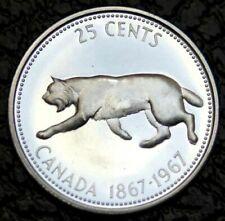 🍁 1967 Brilliant Bobcat Lynx 25 Cent Quarter Canadian Silver Coin, High Grade A