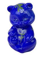 Fenton Periwinkle Blue Slag Art Glass Hand Painted Sitting Bear Artist Signed