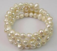 Stretchy  3ROWS Natural White Pink Black Baroque Pearl Bangle Bracelet Select