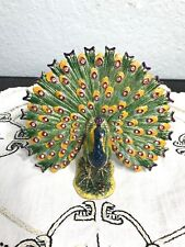Bejeweled Enamel Trinket Jewelry Box,Top Opens w/ Magnet,Fan Peacock (Beautiful)