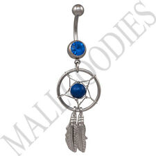B106 Blue Dreamcatcher Dream Catcher Belly Navel Ring Feathers Bead Surgical