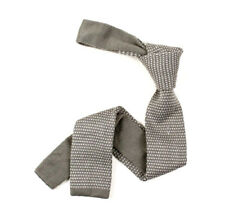 Uk New Waffle Grey Knitted Slim Tie Skinny White Grey Dotted Design Cotton
