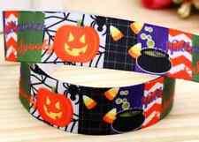 """1M 22mm 7/8"""" Negro Halloween Cinta del Grosgrain 99p Pastel Fiesta Calabaza Araña Web"""