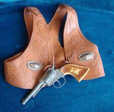 Lot of 2 Vintage Lone Ranger Gabriel Toy Gun & Brown Gabriel Cowboy Vest 1977