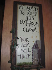 Wooden Sign-My Aim Is To Keep This Bathroom Clean..Your Aim Will Help
