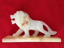"Carved White Tan Granite Rock Marble 3X6X11"" Lion Figurine"