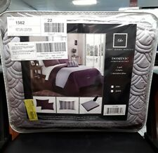 4 Piece Dominic Geometric Quilting Embroidery Queen Quilt Set Lavender Shams