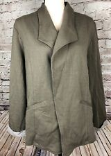 Matty M Olive Green Roll Sleeve Knit Blazer Jacket Womens Size L