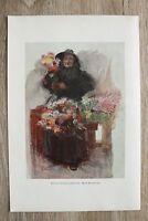 Kunstdruck 1 Blatt 1900/01 Berlin Blumenverkäuferin nach E. Rosenstand Portrait