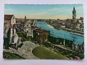 Verona Italy Vintage colour Postcard 1963  St Libera Church from Roman Theatre