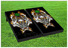 VINYL WRAPS Cornhole Boards DECALS Harley Flames Bag Skull TossGame Stickers 230