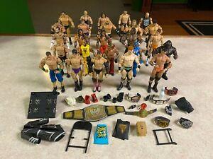 HUGE Lot of 25 Jakks Mattel Elite Superstars WWE Wrestling Action Figures Parts