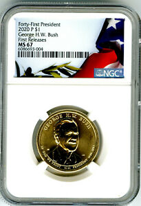 2020 P GEORGE H. W. BUSH  PRESIDENTIAL DOLLAR NGC MS67 FIRST RELEASES POP ONLY 4