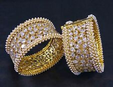 Indian Ethnic 2PC Gold Plated Kada Jewelry CZ Pearl Bangles Bracelets Set
