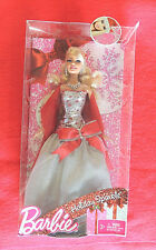 Holiday Sparkle Barbie Doll Mattel #V4415 c2010 Silver & Red Gown Christmas Bow