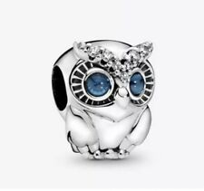 🇬🇧💜💜925 STERLING SILVER SPARKLING OWL CHARM & POUCH