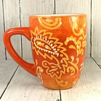 LAURIE GATES Paisley Print Embossed Design Coffee Mug ORANGE  Replacement 3D