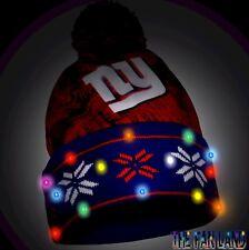 NFL New York Giants Big Logo LED Light Up Pom Mens Cap Hat Beanie