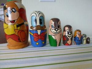 ":) 7 disney nesting dolls Mickey 8"" donald chimpmonks cat mouse 1993 Russia"